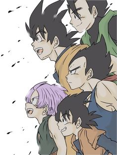 Vegeta, Goku, Gohan, Trunks, and Goten
