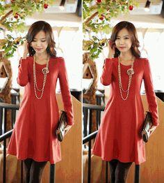 Charming winter  long sleeve dress for women