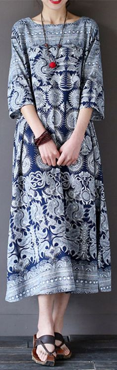 US$ 19.68  Gracila Vintage 3/4 Sleeve Ethnic Printed Long Maxi Women Dresses