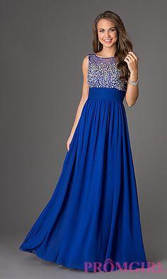 Long, blue, sparkly dress
