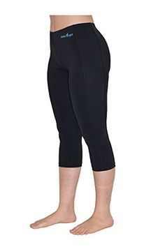 EcoStinger Women UV Protective Clothes Swim Tights Capri Length L Black. Perfect body fit. fast drying, matt finish, snag resistant retain its original shape with excellent stretch and recovery functions. UPF50+ Sun Protection Blocking over 97.5% of the sun UVA and UVB. Protect your skin against sunburns and damage effect from the sun UV rays. Protect the skin against box jellyfish stingers, sea lice and other sea creatures, Feel safe while enjoying your beach and swimming activities....