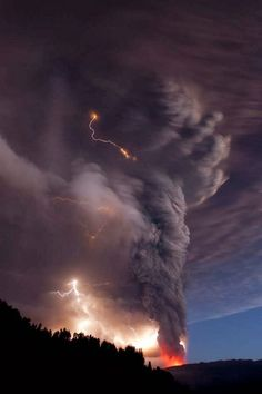 "Misrepresented. ""Tornado and Lightning"". It's not a tornado. It's the ash cloud from the Puyehue Volcano in Chile. Extreme Weather, What A Beautiful World, Stormy Night, Eye Of The Storm, Late Nights, Thunder, Magic, Good Night, Clouds"