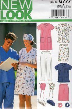 e3699db6ffe New Look 6777 Free Us Ship Sewing Pattern Dress Nurse Uniform Medical Scrubs  Surgery Hat Bust 34 36 38 40 42 44, 46 48 Uncut Out of Print