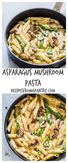 This asparagus mushroom pasta recipe is simple tasty. This asparagus mushroom pasta recipe is simple tasty comforting and awesome. This asparagus mushroom pasta recipe is simple tasty comforting and awesome. Veggie Dishes, Veggie Recipes, Cooking Recipes, Healthy Recipes, Chicken Recipes, Vegetarian Mushroom Recipes, Cooking Ideas, Simple Vegetarian Recipes, Meatless Pasta Recipes