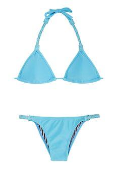 Blauwe Driehoekige Bikini Met Gekleurd Leer En Vast Broekje Emilia - Amir Slama…