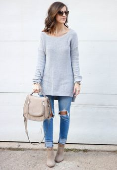 Casual Style with distressed denim, tunic sweater, saddle bag, and booties.