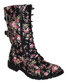 Black Floral Monroe Boot