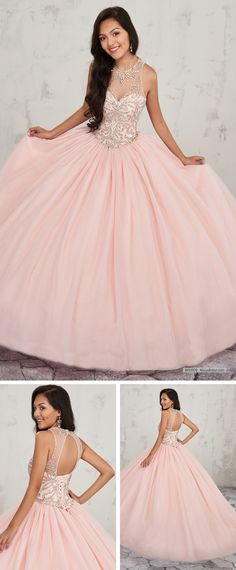 05b4664c6cf8 MQ1009 Halter tulle quinceanera ball gown with jewel neck line, beaded  bodice, basque waist · Rose Gold ...