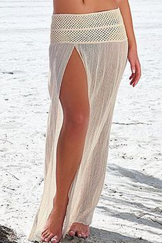 Inspiration! Cute idea for a crochet wide belt and attach lightweight fabric for a beach dress/skirt. Slit Front Chic Sexy Beachwear is sexy cool with breathable fabric made, comfortable and durable to wear. Versatility at it's finest by pulling down for a skirt
