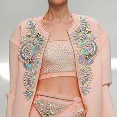 Manish Arora! Awesome embellishment!! @manisharorafashion #pastels #pfw #embellishment #hautecouture #fashionista #sequins