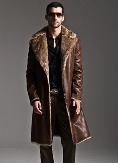 Brown Winter Ultra Long Coat for Men Luxury Fur Lining Back to Back