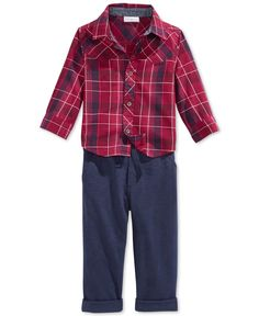 First Impressions Baby Boys' 2-Piece Plaid Shirt & Pants Set, Only at Macy's