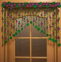 Crochet Bedspread Pattern, Crochet Curtains, Crochet Doilies, Crochet Flowers, Top Tejidos A Crochet, Small Crochet Gifts, Curtain Patterns, Curtain Ideas, Desi Wedding Decor