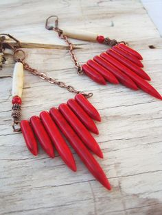 RED Beautiful Red Howlite Earrings by WildPeopleFreeSpirit on Etsy, $23.00