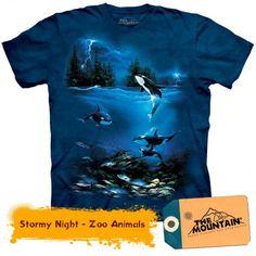 Tricouri The Mountain – Tricou Stormy Night Stormy Night, Zoo Animals, Mountain, 3d, Mens Tops, T Shirt, Tee, Tee Shirt