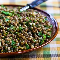 Lebanese Lentil Salad with Garlic, Cumin & Mint : this was so yummy!  Everybody in the fam loved it.  Cut the garlic back to 5 cloves and didn't use parsley. Would definitely make again.