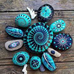 Painted rocks spiral mandala, patterns, leaf, shell pattern