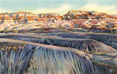 Vintage Arizona postcard of evening shadows in the Painted Desert (or Petrified Forest) & Blue Forest Painted Cliffs. Beautiful card for framing.