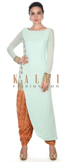 Buy this  Mint straight suit adorn in zardosi and kundan butti only on Kalki