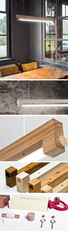 A minimalist led design lamp named NINEBYFOUR, made of Elm wood, 9 x 4 x 100cm, 90cm Philips Master Led tube included, 200cm Red cloth wire, sandpaper finish, unoiled and UNCOATED