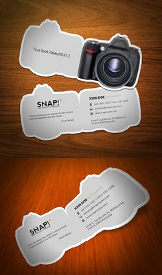 Photographer di-cut business cards look like a camera. via Snapi
