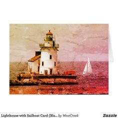 Lighthouse with Sailboat Card (Blank)