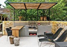 38 The Best Summer Kitchen Outdoor Ideas For Your Backyard - SearcHomee Outdoor Spaces, Outdoor Living, Outdoor Decor, Outdoor Ideas, Pool House Piscine, Barbacoa Jardin, Outdoor Bbq Kitchen, Backyard Office, Backyard Pool Designs