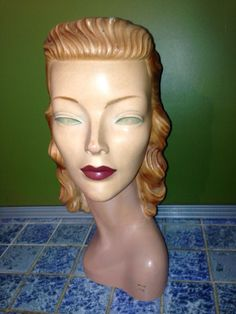 Beautiful 1940s Vintage Mannequin Head.  Not that beautiful.