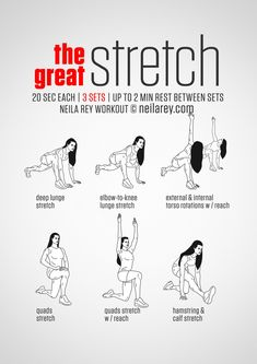 Instructions: Stretch for 20 seconds, change sides and repeat - then move on to…