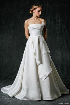 sareh nouri fall 2017 bridal strapless straight neckline simple clean beautiful a  line wedding dress chapel train (brooke) mv