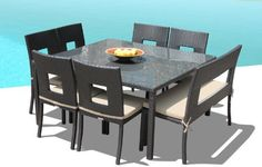 """Outdoor Patio Wicker Furniture New Resin 8 Pc Square Dining Table Set with Chairs and Bench by Cassona Outdoor living. $1499.00. - Powder coated aluminum frame, Seating Strap Support System & Premium Quality Foam Cushions & zippered covers. - Curbside Delivery with signature required. - Why spend so much on retail? Save a lot with our Factory Direct Price. - Weather Proof Espresso 8 Pc Dining Set includes 1pc 60x60"""" table with glass top, 6 chairs & 1 Bench. - Hand..."""