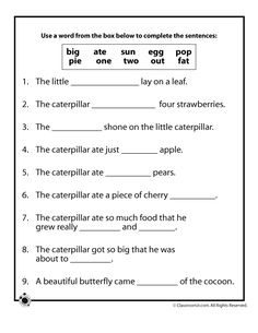 The Very Hungry Caterpillar Activities and Lesson Plan The Very Hungry Caterpillar Vocabulary Worksheet – Classroom Jr.