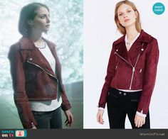 Thea's red suede moto jacket on Arrow.  Outfit Details: https://wornontv.net/62907/ #Arrow