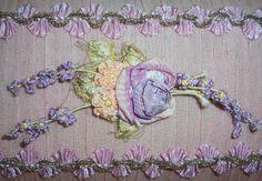 ANTIQUE/French Textile Pink SILK & Metallic Trim Bed Lamp Shade...Ribbon Work ROSES