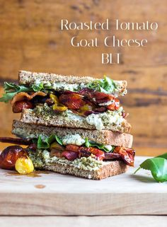 Roasted Tomato Pesto Goat Cheese BLT sandwich Sandwiches is usually the smallest amount balanced choices Lunch Recipes, Cooking Recipes, Healthy Recipes, Chickpea Recipes, Wrap Recipes, Salmon Recipes, Pizza Recipes, Potato Recipes, Fish Recipes