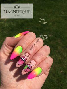 Nailart Bad Icon nails neon Farben pink gelb grün yelow Green