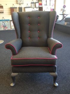 Stunning Parker Knoll Wingback Chair Grey And Pink Designer Warwick Fabrics