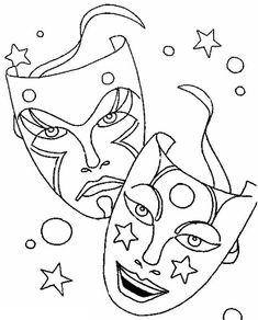 Mardi Gras, : Comedy Tragedy Mask as Mardi Gras Symbol Coloring Page