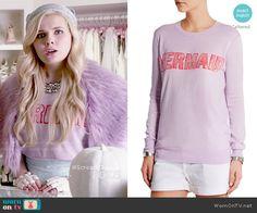 Chanel 5's purple mermaid sweater on Scream Queens.  Outfit Details: http://wornontv.net/52687/ #ScreamQueens (shortened)
