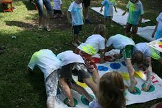 Twister with colored shaving cream!