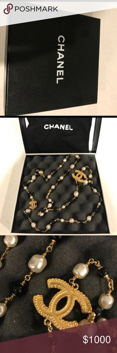 CHANEL NECKLACE Chanel necklace with pearls, Almost brand new, no scratches anywhere. I've only wore them over sweater twice most, it's not my style, very elegant and classic, this style last lifetime. Box and dust bag included. Purchased on chanel boutique on Madison ave NY.( this is not vintage necklace ) CHANEL Jewelry Necklaces