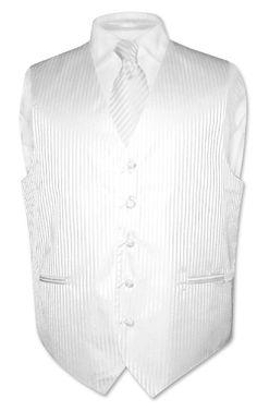 Men`s Dress Vest & NeckTie White Striped Vertical Stripes Design Set for Suit or Tuxedo Mens Suit Vest, Mens Suits, Dress Vest, Men Dress, Black Waistcoat, Tuxedo Vest, Workout Vest, Tie Set, Vertical Stripes