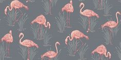 Lagoon  (252603) - Arthouse Wallpapers - An elegant wallcovering featuring flamboyant flamingos amongst lagoon reeds. Shown here in the grey and coral colourway. Other colourways are available. Please request a sample for a true colour match. Vinyl product.