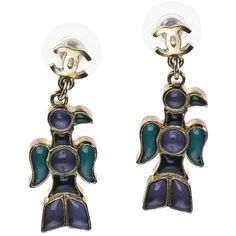 Pre-owned Chanel Tribal Native American Earrings ($235) ❤ liked on Polyvore featuring jewelry, earrings, accessories, blue, american indian earrings, chanel jewellery, native american jewelry, pre owned jewelry and blue jewelry
