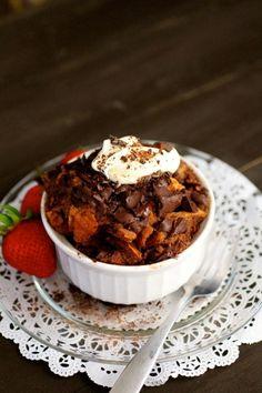 Chocolate chunk bread pudding