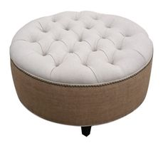 30 Upholstered. Tufted. Linen and Burlap. Round Ottoman