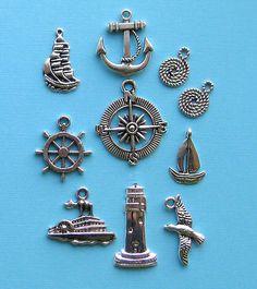 Nautical Charm Collection Antique Tibetan Silver Tone 10 Charms - COL034 $4