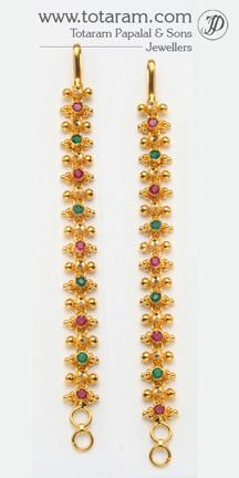 22K Gold Ear Chain - GEM014 - Indian Jewelry from Totaram Jewelers