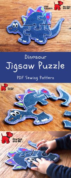 Dinosaur PDF Sewing Pattern 5 piece Jigsaw Puzzle Soft Toy Quiet Book Baby Sewing Pattern Felt Toy Patterns Baby Gift #puzzlesewingpattern #jigsawpuzzle #dinosaurpuzzle #ad