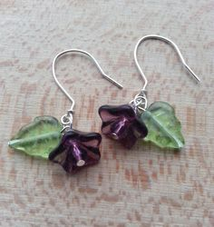 Beautiful beaded jewellery made in uk at etsy.com/shop/hippiechip   Beads flowers purple amethyst leaves spring